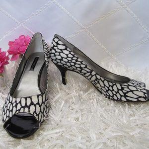 Bandolino Black/White Open Toe Pumps